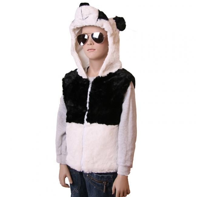 Grijs mouwloos vestje in de vorm van een panda