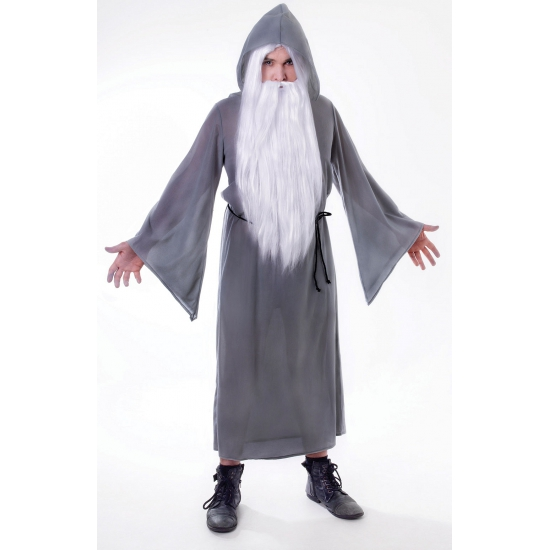Grijs tovenaars kostuum voor heren