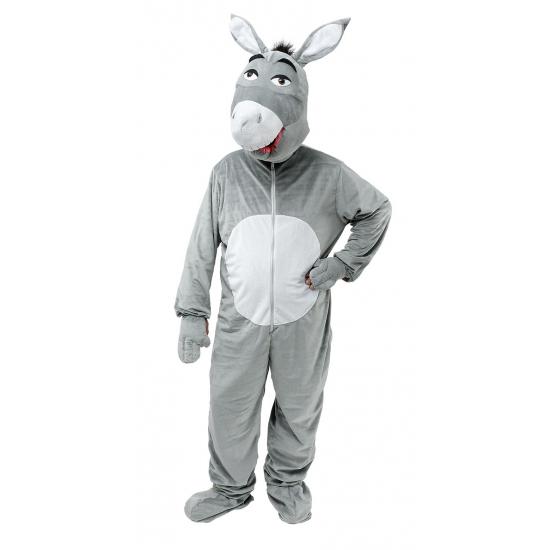 Grijze pluche ezel verkleed kleding
