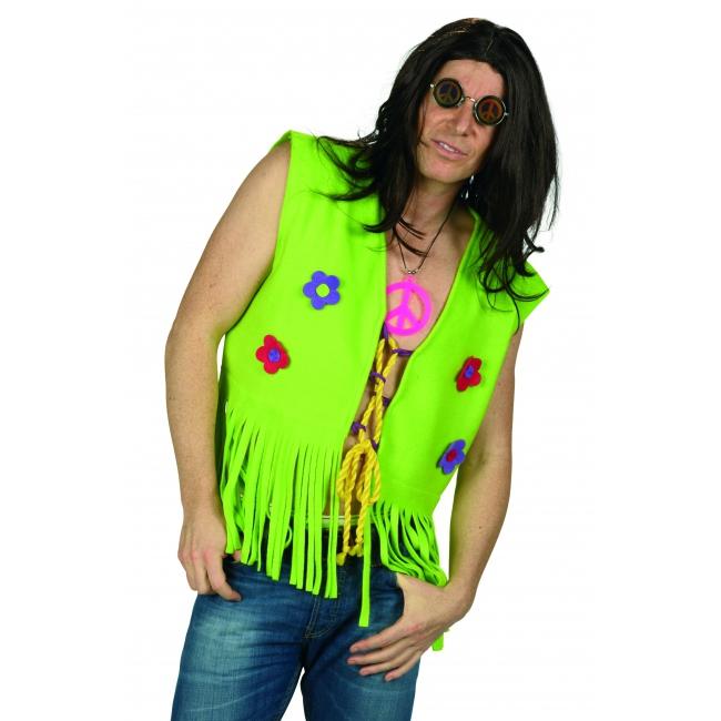 Groen hippie vest met bloemen voor heren