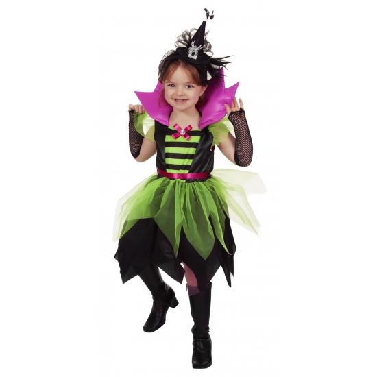 Halloween heksen jurk groen zwart voor kinderen