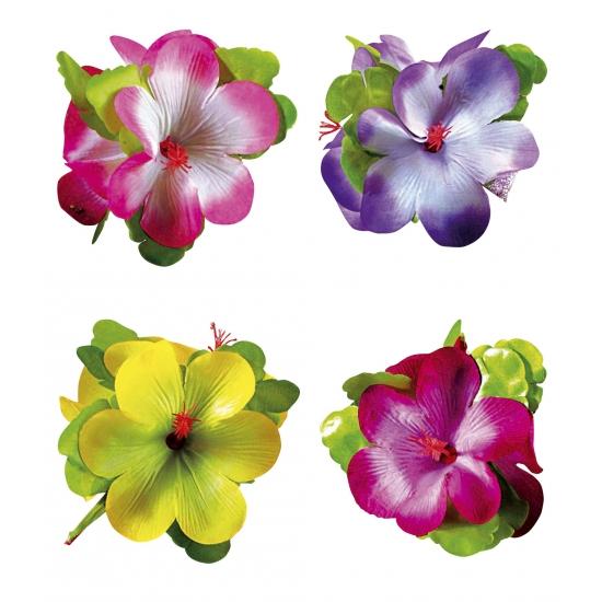 Hawaii bloemen haarklem gekleurd