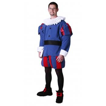 Historisch kostuum blauw met rood