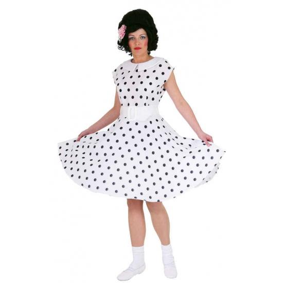 Jaren 50 rock n roll jurk wit/zwart