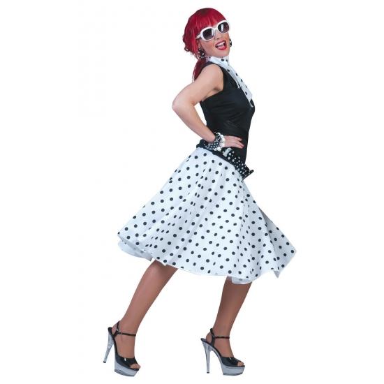 Jaren 50 rok wit met zwarte stippen