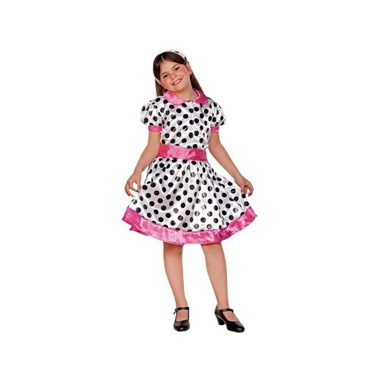 Jaren 70 jurk voor meiden wit/roze