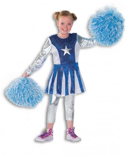 Kids cheerleader kostuum blauw