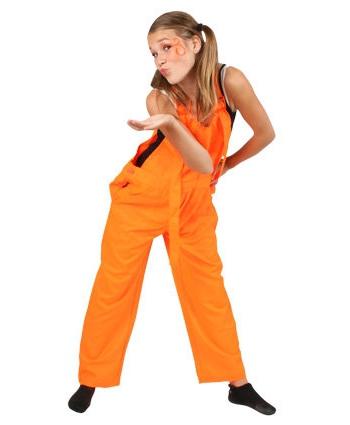 Kinder overall fluor oranje