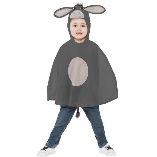 Kinder poncho grijs ezeltje