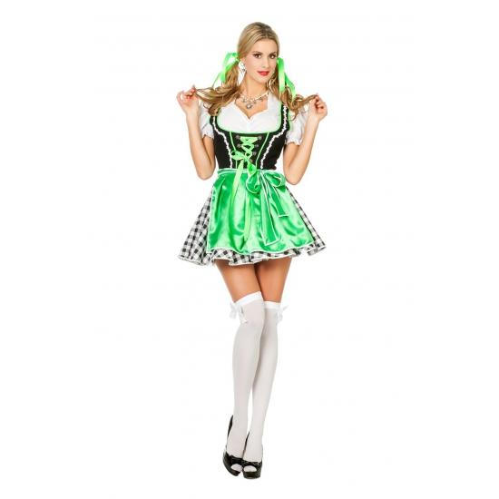 Kort oktoberfeest jurkje voor dames in het groen