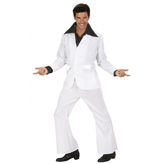 Kostuum in discostijl wit