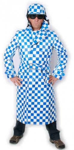 Lange jas blauw met wit geblokt