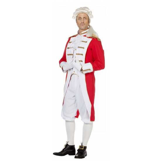 Lange lakei soldaat jas rood wit