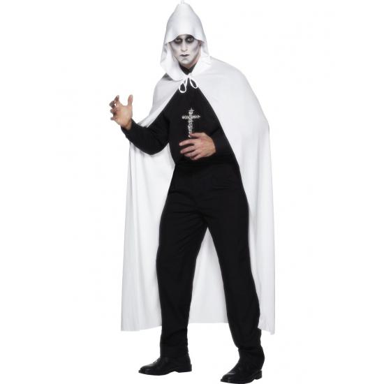 Lange verkleed cape in het wit