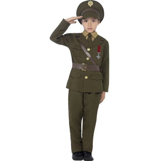 Leger officier verkleed outfit voor kids
