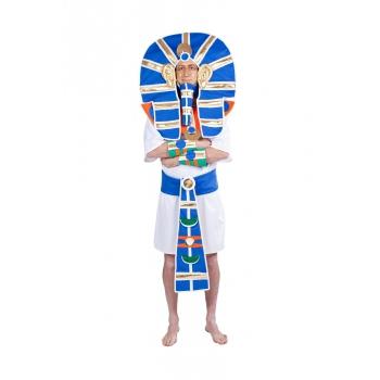 Luxe farao kostuum met blauwe hoofdtooi