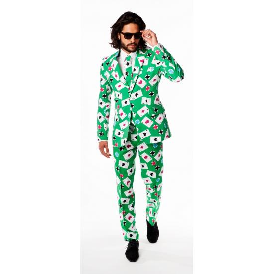 Luxe groen pak met kaarten print