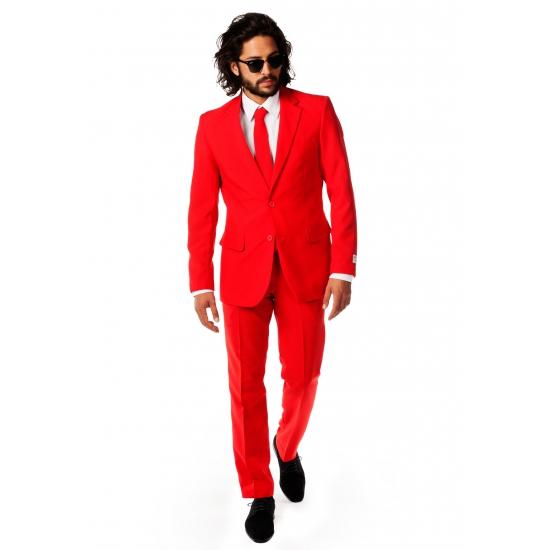 Luxe rood heren kostuum