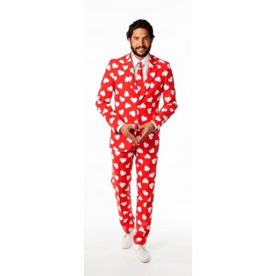 Luxe rood pak met witte hartjes print