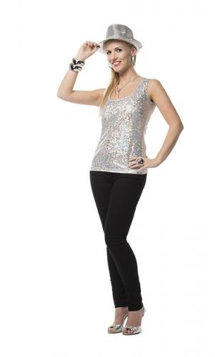 Luxe zilveren stretch glitter top voor dames