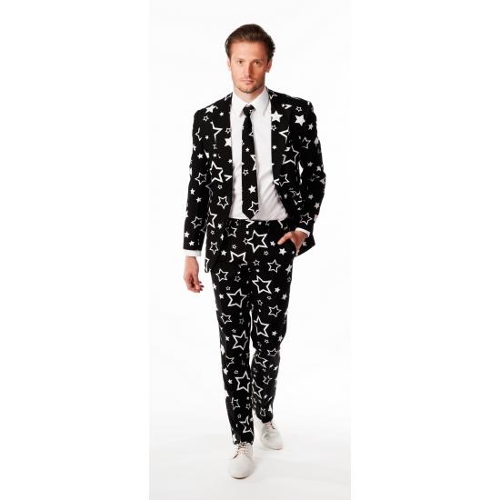 Luxe zwart pak met sterren print