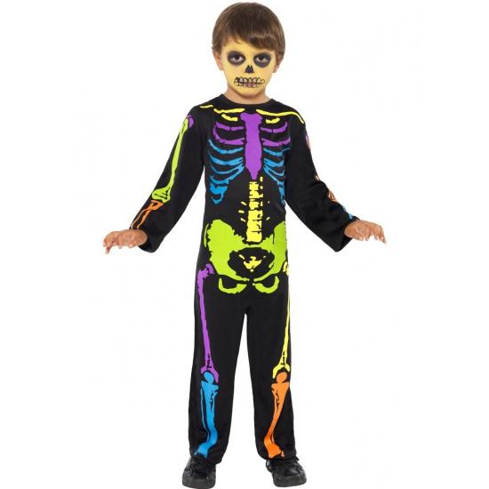 Neon skelet kostuum halloween kind