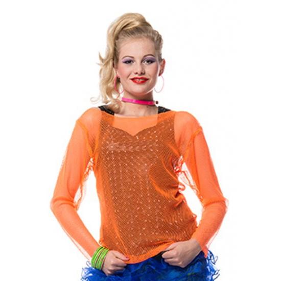 Netshirt neon oranje voor dames