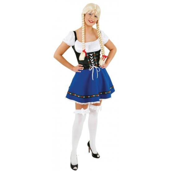 Oktoberfest dirndl blauw met zwart
