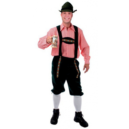 Oktoberfest Tiroler blouse rood/wit geblokt