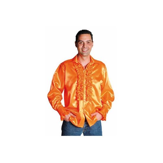 Oranje glimmende blouse