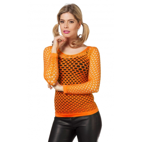 Oranje netshirt met lange mouwen