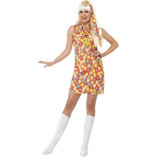 Oranje Sixties jurkje met bloemen