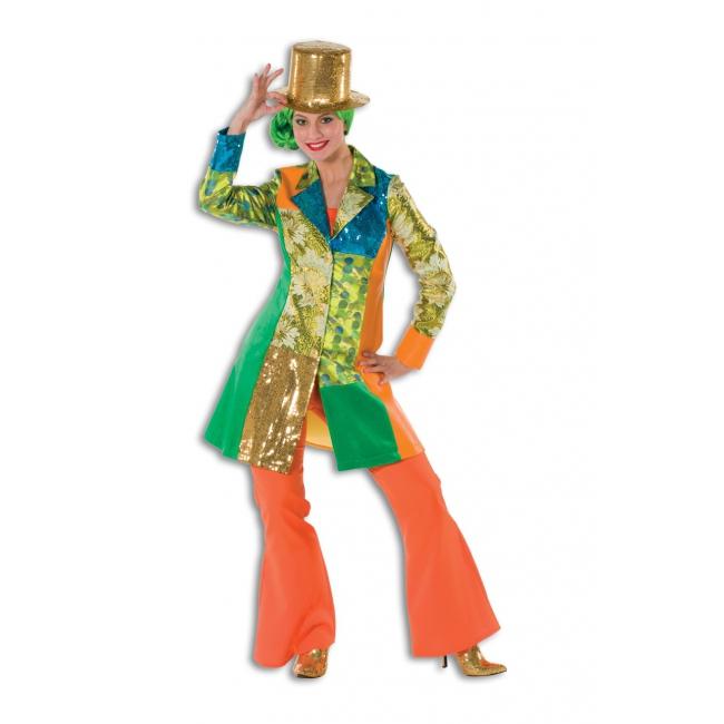 Oranje wijd uitlopende broek voor dames