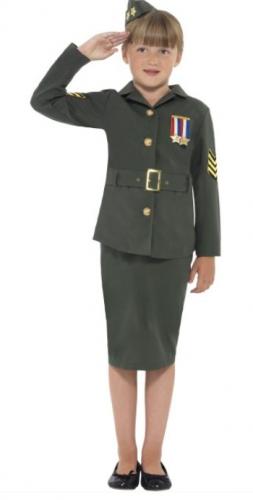 Ouderwets leger kostuum voor meisjes