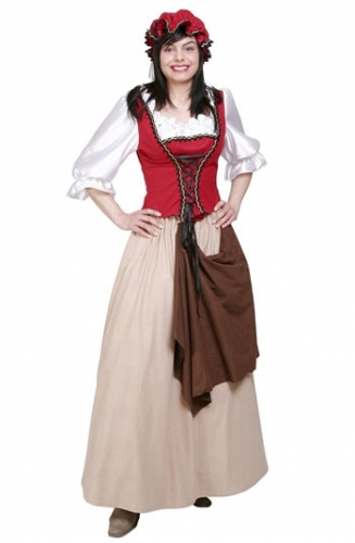 Ouderwetse jurk met mutsje voor dames