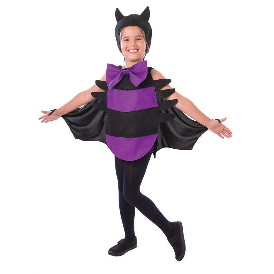 Paars spin kostuum met zwarte strepen voor kinderen