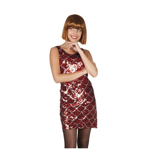 Pailletten jurkje rood met zilver