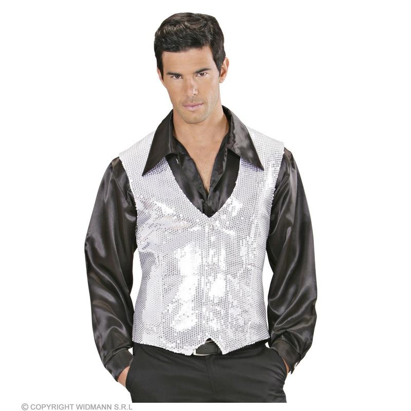 Pailletten vest wit zilver