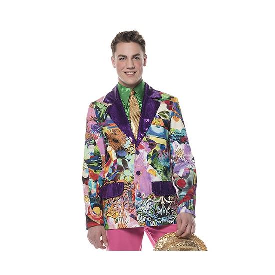 Party colbert voor heren met paarse pailletten