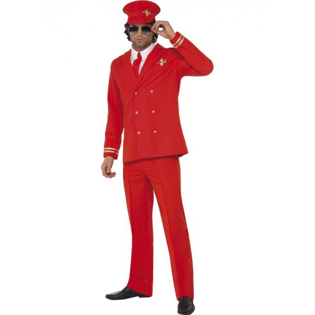 Piloten pak rood met hoed