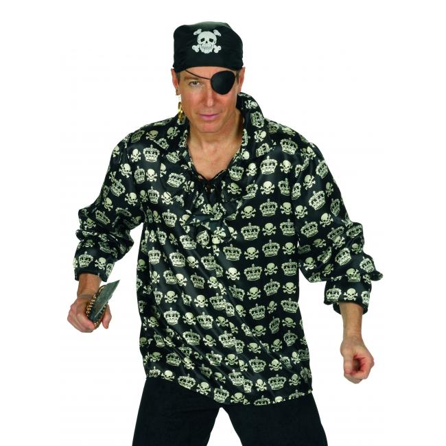 Piraat overhemd met schedels en kronen