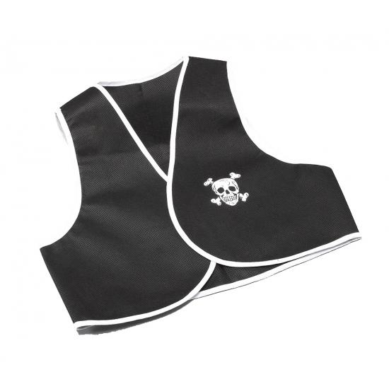Piraten vestje zonder mouw zwart