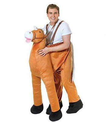 Pluche instap paard kostuum