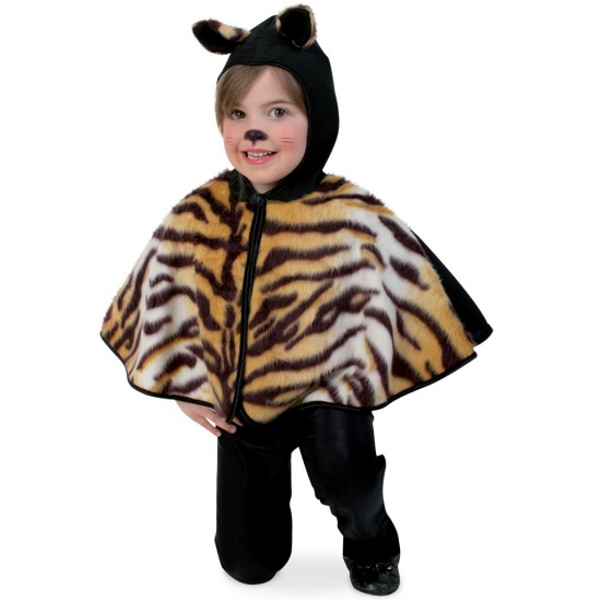 Pluche tijger poncho voor peuters