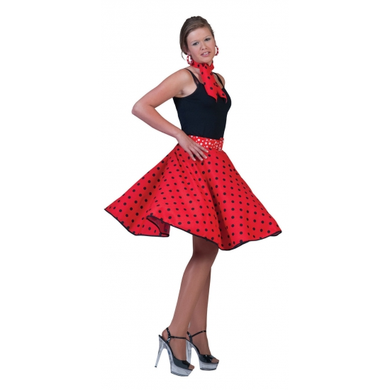 Rock and Roll rok dames rood