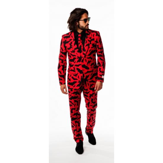 Rode business suit met zwarte vleermuizen