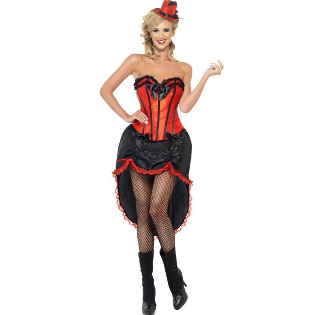 Rood burlesque danseres kostuum voor dames