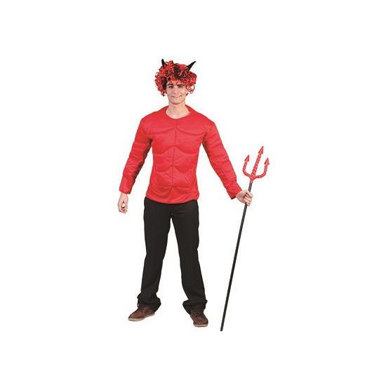 Rood gespierd duivel shirt voor volwassenen