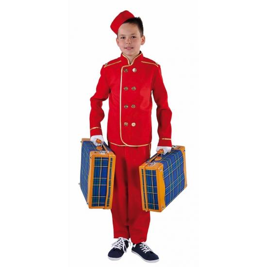 Rood hotelbediende kostuum voor kids