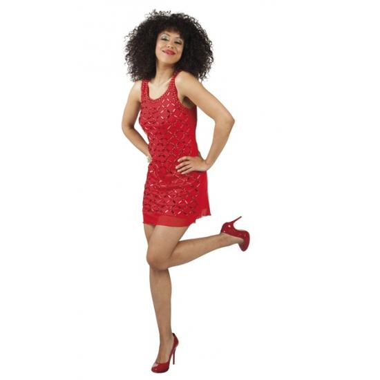Rood jurkje met pailletten steentjes